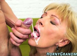 Mature granny deep throating