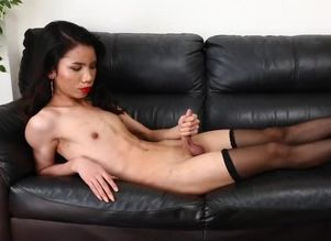 she-male solo stretching her taut..