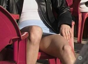 (upskirt exhibitionist) sitting..