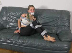 Gamer woman duct taped